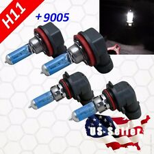 Combo H11 + 9005 Halogen 100w Xenon Headlight Bright White Light Bulb Hi/Lo Beam