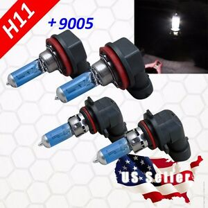 Combo H11 + 9005 Headlight Super White Light Bulb Hi/Lo Beam 100w Halogen Xenon