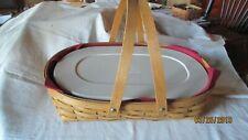 Longaberger Small Oval Gathering Basket Paprika Liner Lidded Plastic Protector