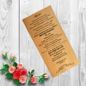 Personalised Wedding I SPY x12 Cards Table Game Favour Children Adult IS10