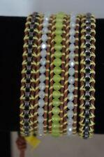 NEW Chan Luu Swarovski Crystal Yellow Semi Precious Stone Chain 5 Wrap Bracelet