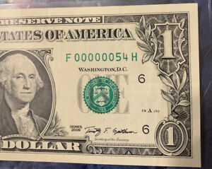 "2009 $1 ""FANCY""Serial Number LOW 2 Digit F00000054H  Old US Paper Money Currency"