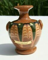 Bulgaria Mini Vase Redware Pottery Drip Glaze Miniature Hand Painted