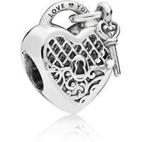 Genuine Pandora Silver Love You Lock Charm Heart & Key - 797655 NEW! SALE ITEM!