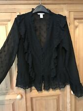 H&M Black Embroidered Blouse Size 14