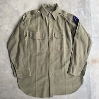 1930s vintage Wool Us Military Button Down Shirt Army Green M/L