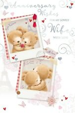 """Wife Wedding Anniversary Card - Bears, Red Rose, Music Notes & Hearts 9"""" x 6"""""""