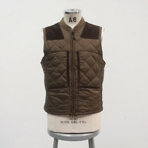New Polo Ralph Lauren Quilted Vest Size M Brown Hunting Shooting Leather Trim