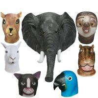 Full Face Latex Masks Halloween Animal Mask Cosplay Elephant Squirrel Parrot