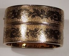 ANTIQUE VICTORIAN TAILLE D'EPARGNE ENAMEL 14K SOLID GOLD PR BANGLE CUFF BRACELET