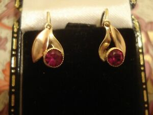 Beautiful & Finely Crafted 14CT Gold: Ruby Gemstones Set Leaves Design Earrings