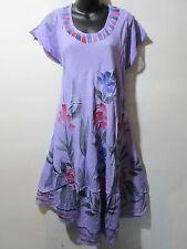 Dress Fits 2X 3X 4X Plus Sundress Purple Hand Painted Floral Bell Shape NWT G611