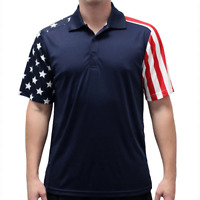 Men's Stars and Stripes American Flag Golf Polo Shirt in Navy