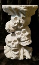 Skull Stack Candle Holder Halloween Ready to Paint, Unpainted Ceramic Bisque