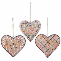 Heart Christmas Tree Decorations Hanging Gingerbread Xmas Cookies Set of 3