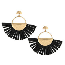 Dangle Post Stud Earrings For Women Black Faux Leather Fan Tassel Fringe Drop