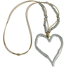 Lagenlook silver colour extra large heart pendant bead beige cord long necklace