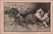 THANKSGIVING NIGHTMARE, TOO MUCH TURKEY, antique engraving, original 1886