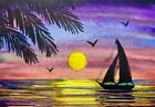 """Watercolor Painting Ocean Sunset Sailboat Palm Tree Seascape 5""""x3,5"""" inches"""
