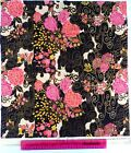 Makower,fabric,for quilting fat quarter,craft,japanese flower black pink