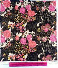 Makower,fabric,for quilting fat quarter,craft,japanese flower black pink