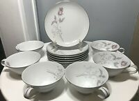 Mikasa Gwen Fine China 8 Bread & Butter Plates 6 Tea Cups Silver Rose 14 Pieces