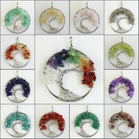 Natural Amethyst Labradorite Peridot Chip Beads Tree of Life Silver Pendant 50mm
