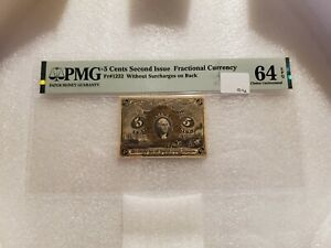 5 Cents Second Issue Fractional Currency Fr#1232 PMG 64 EPQ Choice Uncirculated