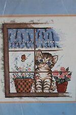 "Bucilla ""Kitten in Window"" Counted Cross Stitch Kit Made USA 40462 Cat"