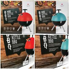 Mini Kettle Barbecue BBQ Portable Charcoal Grill Stainless Steel Blue or Red UK
