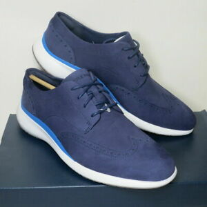 Cole Haan Grand Troy Wingtip Oxford Shoes Blue C33766 Mens NWB