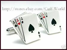 """3 Card Poker"" 3 Aces Card Cuff Links cufflinks #C-131"