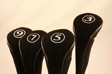 NEW BLACK METAL FAIRWAY 3 5 7 9 WOOD GOLF CLUB ZIPPER HEADCOVER SET HEAD COVER