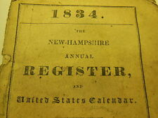 THE NEW HAMPSHIRE ANNUAL REGISTER by J Farmer RARE Politics Concord Antique 1834