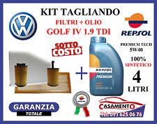 KIT TAGLIANDO OLIO REPSOL 5W40 4LT + 4 FILTRI VW VOLKSWAGEN GOLF IV 1.9 TDI