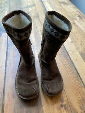 Girl's Clarks Brown Suede Winter Warm Faux Fur Boots - Size 11.5