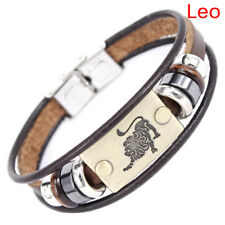 Stainless Steel Clasp Leather Bracelet 12 Zodiac Signs Bracelet Men Jewelry WL