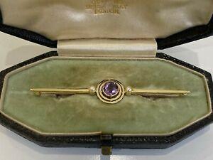 15CT solid gold w/ Amethyst & Pearl brooch in original box 4.70g / 68.8mm