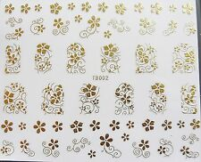 "NAIL Art ""GOLD SWIRLS pizzo fiori foglie"" Autoadesivo Wrap Adesivo Decalcomanie 002"