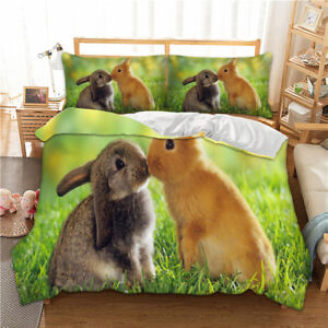 3D Animal Print Rabbit Duvet Cover Bedding Set with Pillow Cases All Sizes Bed