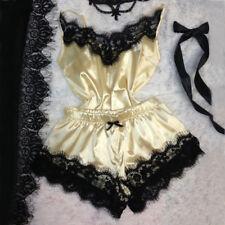 Ladies Women Satin Lace Sleepwear Babydoll Lingerie Nightdress Pajamas Suit Sets