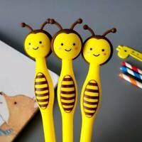 6PCS Bee Kawaii Black Ink Gel Pen Plastic Frosted School Writing Marker Pens Lot