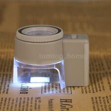 Mini 8x Adjustable Stand Magnifier Magnifying Glass Jewelry Loupe LED Light G6K3