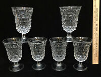 Fostoria American Wine Glasses Water Clear Glass Cube Set 6 Vintage Footed