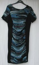 M & S per Una Ladies Black Blue Red Patterned Ruched Panel Wiggle Dress Size 16
