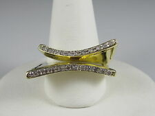 Diamond Ring 18K Yellow Gold Double Row Band Modern Contemporary Bead Set Sz 7