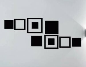 NEW 9pc 3D Black Squares Mirrored Surface Modern Wall Decor Acrylic Stickers