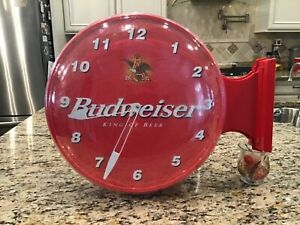 1999 Budweiser King of Beer Round Double Sided Hanging Wall Clock NICE !