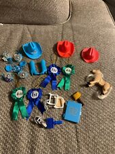 Vintage 1990s Barbie Western Stampin' Cowboy Blue Hats Cowgirl 4-H Ribbons Lot
