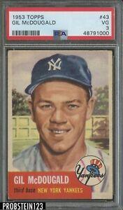 1953 Topps SETBREAK #43 Gil McDougald New York Yankees PSA 3 VG